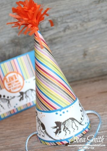 Boy birthday dinosaur card and party hat using the Stampin' Up! No Bones About It Stamp Set and Birthday Memories designer paper.