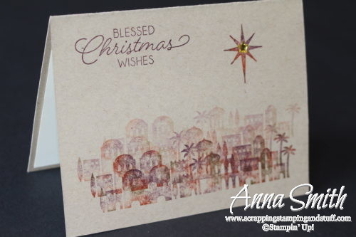 Quick and easy Christmas card idea made with the Stampin' Up! Night in Bethlehem stamp set and baby wipe technique