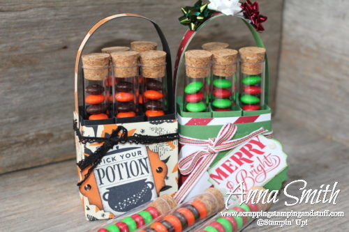 Video tutorial for making these Stampin' Up! test tube carrier treat holders for Halloween and Christmas treats