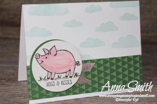 Hogs & kisses birthday card idea made with the adorable Stampin' Up! This Little Piggy stamp set