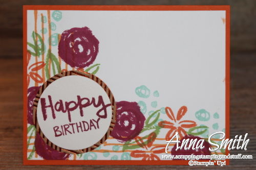 Bright floral birthday card idea using the Stampin' Up! Paint Play stamp set and Foil Frenzy designer paper. 2017-2018 Annual Catalog.