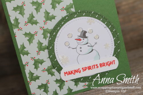Simple Stampin' Up! Snowman Christmas Card made with the Making Christmas Bright Stamp Set and Santa's Workshop designer series paper