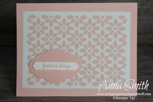 Pretty wedding or anniversary lace card made with Stampin' Up! Delightfully Detailed Paper and Itty Bitty Greetings stamp set