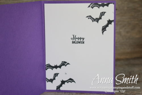 Cute Halloween bat card! No tricks just treats - Stampin' Up! Spooky Sweets stamp set, spooky bats punch, and toil & trouble designer paper.