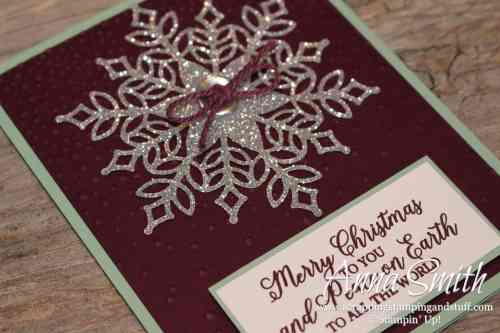 Christmas card idea made with the Stampin' Up! Snowflake Showcase - Snow Is Glistening stamp set and Snowfall thinlits
