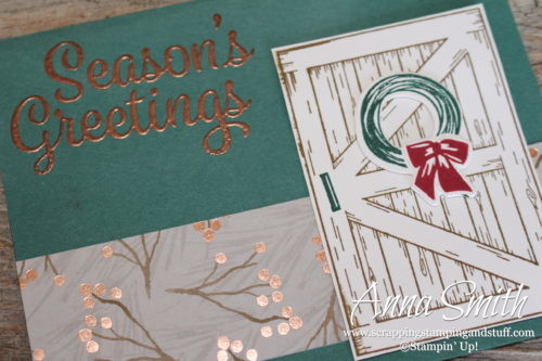 Season's greetings Christmas card with the Stampin' Up! Barn Door and Snowflake Sentiments stamp sets and Sliding Door Framelits