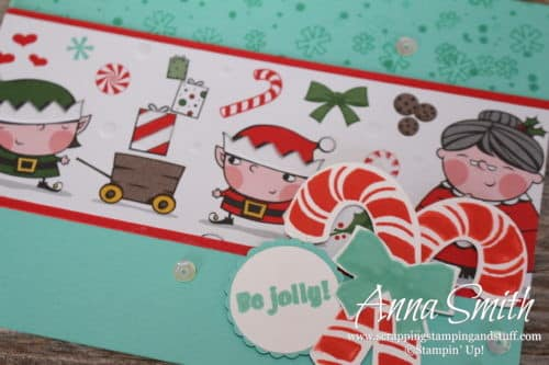Adorable Stampin' Up! Candy Cane Season stamp set and candy cane punch Christmas card idea with Mrs. Claus and Santa's elves