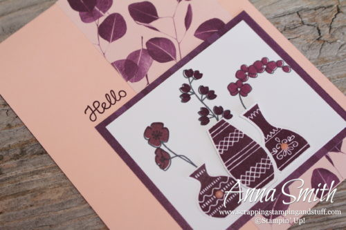 Simple pink and purple hello card made with the Stampin' Up! Varied Vases bundle