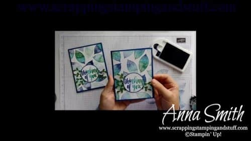 Pretty blue and green thinking of you card, made with the Stampin' Up! Rooted in Nature set, featuring the Spectrum Ink Pad.