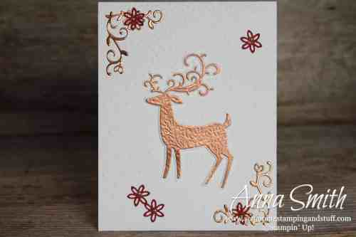 Beautiful Christmas card idea made with the Stampin' Up! Dashing Deer stamp set and Detailed Deer Thinlits.