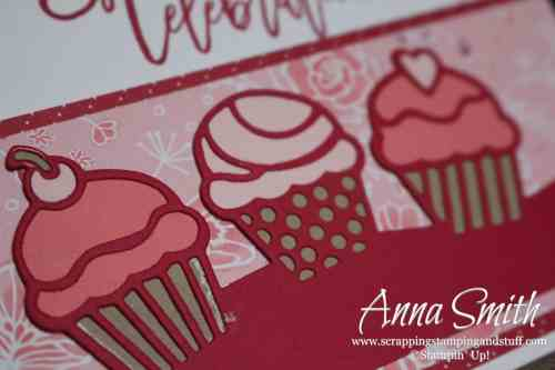 Cute cupcake card idea made with the Stampin' Up! Birthday Cheer stamp set and Detailed Birthday Edgelits dies.