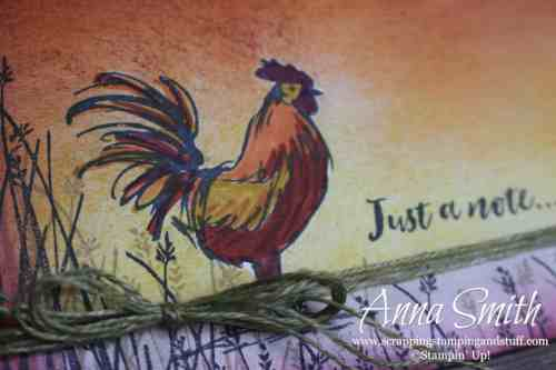 Sale-a-bration 2019 free item option - Stampin' Up! Home to Roost stamp set. Love this rooster! Just because card idea.