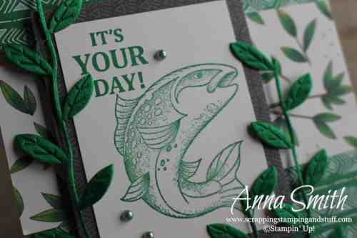 Cute masculine fish birthday card idea using the Stampin' Up! Best Catch stamp set and Animal Expedition designer paper
