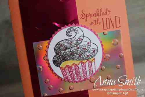 Cute cupcake card idea made with the Stampin' Up! Hello Cupcake stamp set, get it free now through March 31!