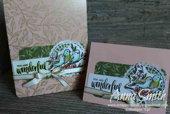 Handmade Card and Matching Tin Gift Set Made Using Stampin' Up! Bird Ballad Designer Paper and Decorative Tin