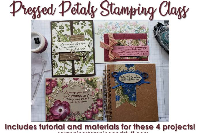 Online stamping class in the mail! Receive the materials to make these beautiful handmade card ideas. Class uses the Stampin Up Pressed Petals product suite, Path of Petals stamp set, Petal Labels dies, and Pressed Petals designer paper.