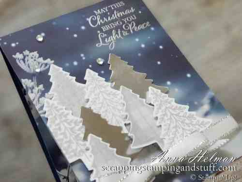 Gorgeous starry night Christmas card idea using the Stampin Up Perfectly Plaid stamp set, Pine Tree Punch, and Feels Life Frost designer paper. 2019 Holiday Catalog sneak peek!