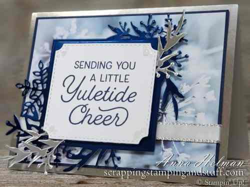 Winter or Christmas blue foil card idea using the Stampin Up Frosted Foliage stamp set bundle and Feels Like Frost designer paper