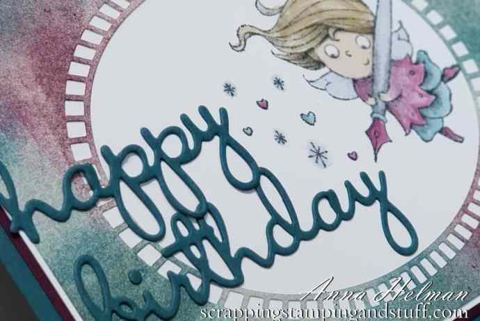 Giveaway Week - Win the Stampin Up New Wonders stamp set! Whimsical birthday card idea, perfect for a little girl, also uses Well Written dies and Shimmer Detailed laser-cut paper.