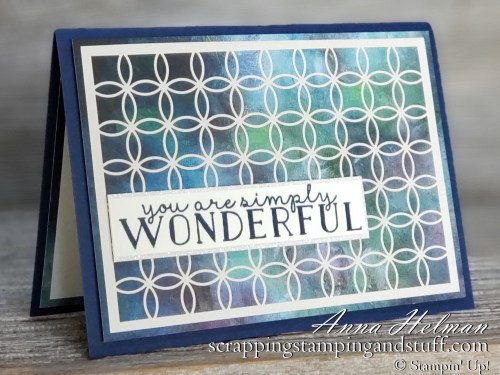 Gorgeous handmade card idea - You are wonderful card made with Stampin Up Perennial Essence paper, Shimmer Laser Cut Paper, and Bloom & Grow Stamp Set, great for encouragement, thank you, birthday, and more occasions.