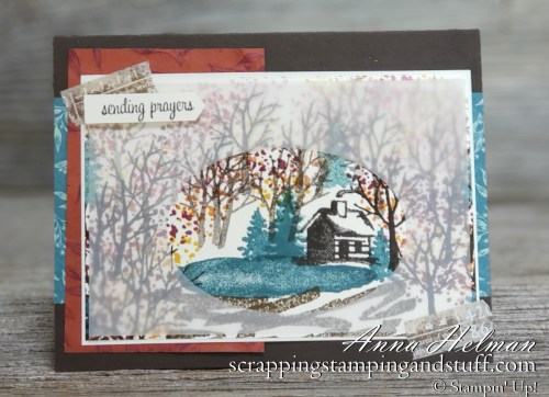 Pretty fall scene, autumn thinking of you card. Sending prayers with Stampin Up Snow Front to make a fall scene with a log cabin and lake. 2019 Holiday Catalog.