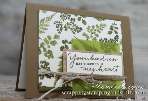 Rustic, farmhouse kindness card idea with ferns, burlap and twine! Stampin Up Pressed Petals and Path of Petals stamp set in the 2019-2020 annual catalog.