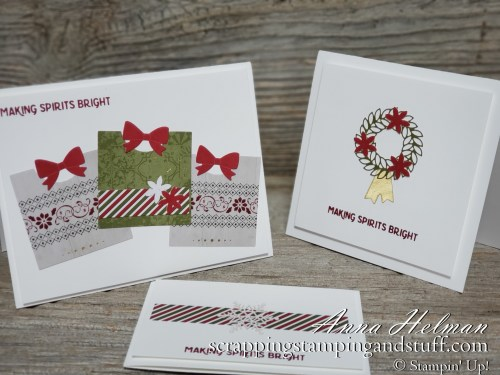 Alternative project ideas for the Stampin Up Christmas Countdown project kit. Made these cute, clean and simple Christmas cards using leftovers from the kit!