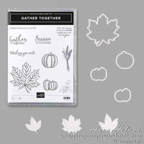 Stampin Up Gather Together Bundle Fall Leaves Stamp and Die Set
