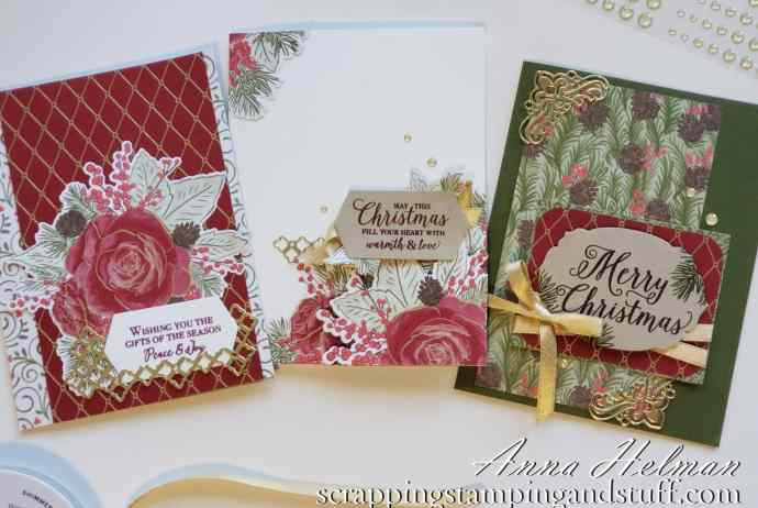So pretty!! Stampin Up Christmastime is Here floral Christmas card ideas using the Christmas Rose stamp set - special release coming November 1!