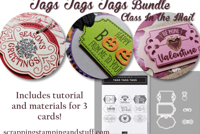 Stampin Up Tags Tags Tags Bundle Class In the Mail includes tutorial and materials to make 3 adorable cards