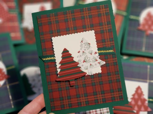 Wrapped in Plaid Christmas Card Using the Stampin Up Pine Tree Punch