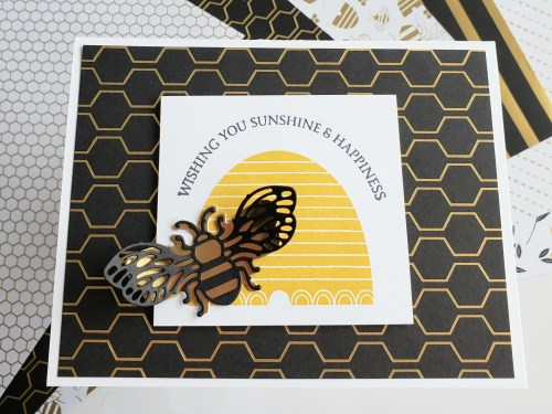 Bee card idea made with Stampin Up Honey Bee stamp and die set in 2020 Mini Catalog, also Golden Honey designer series paper in Sale-a-bration brochure