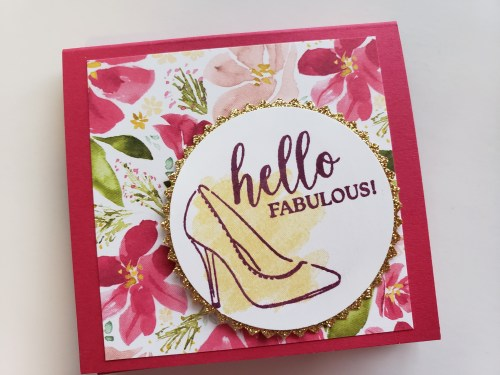 Post-It holder with measurements made with the Stampin Up Dressed to Impress stamp set with high heels, lipstick, and perfume. Hello Fabulous!