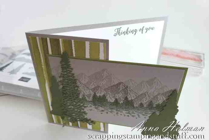 Masculine card idea made with the Stampin Up Mountain Air stamp and die set. Wildnerness, outdoorsy man card.