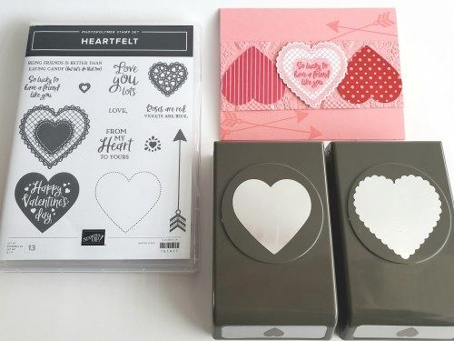 Pretty Valentine's Day card idea or love card idea made with the Stampin Up Heartfelt stamp set and heart punch pack
