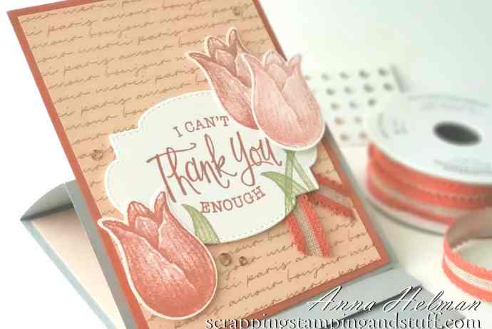 Lovely easel fold thank you card made with Stampin Up Timeless Tulips. Love this tulip stamp and punch set!