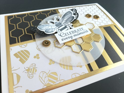 Win free stamping supplies during Giveaway Week! Enter to win the Stampin Up Golden Honey Designer Series Paper! Adorable bee and honeycomb card idea.