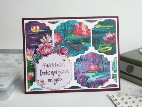 Sale-a-bration Second Release - Stampin' Up! Tags In Bloom stamp set and card idea using Lily Impressions designer paper. Get these items free with qualifying order!