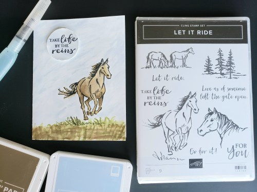 Pretty horse card - take life by the reins - made using Stampin Up Let It Ride stamp set and watercoloring