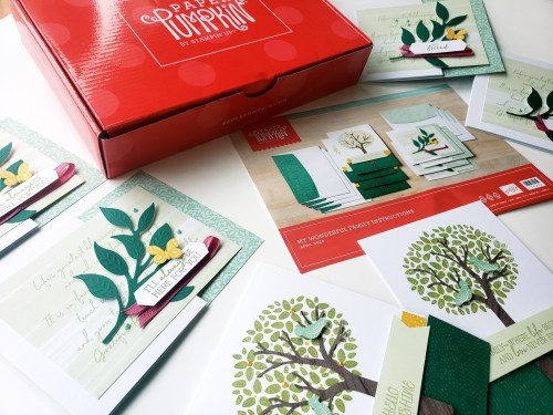 April 2020 Paper Pumpkin Alternatives for the My Wonderful Family kit! Paper Pumpkin is a card and craft kit mailed to your door. This month's kit includes beautiful trees and family messages for mother's and father's day.