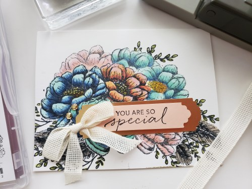 Flower Bouquet Card Using Masking And Stampin Blends Alcohol Markers With The Stampin Up Tasteful Touches Stamp Set