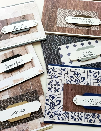 Natural Textures Cards With The Stampin Up In Good Taste Designer Paper Pack and Lovely Labels Pick A Punch