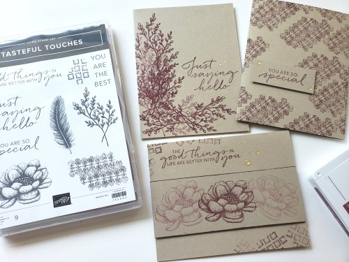 Make these three simple card ideas using the Stampin Up Tasteful Touches stamp set. Perfect card ideas for beginning stampers who are learning to stamp!