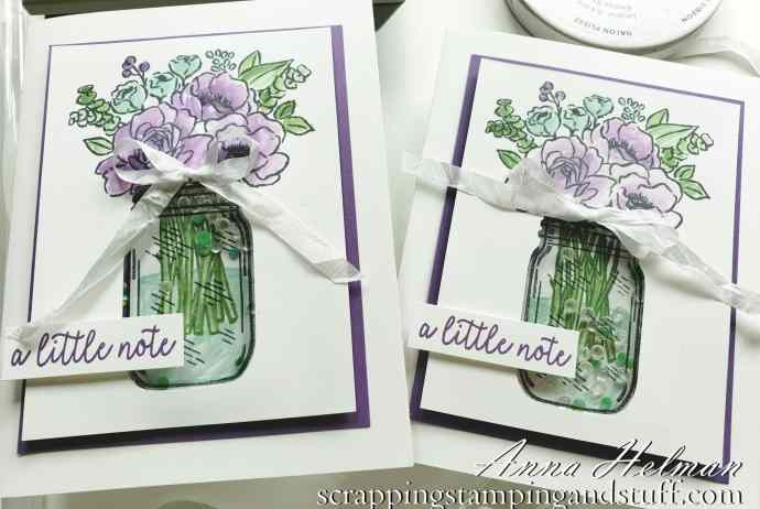 Floral Shaker Card Tutorial Using The Stampin Up Jar of Flowers Bundle