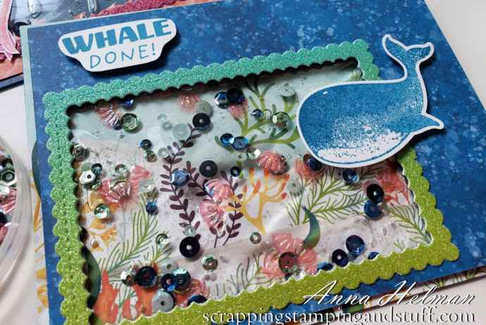 Underwater Ocean Scene Gel Water Shaker Card Tutorial Using The Stampin Up Whale Done Stamp Set
