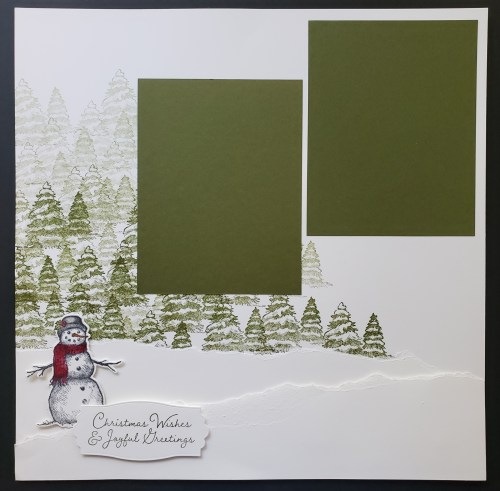 Stampin Up Snow Wonder Snowman Scrapbook Page and Card Tutorial With A Simple Snow Drift Technique