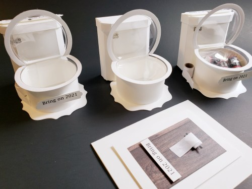 Let's Flush 2020 And Bring On 2021 With This Paper Toilet Treat Holder Tutorial Using Stampin Up Snow Globe Shaker Domes