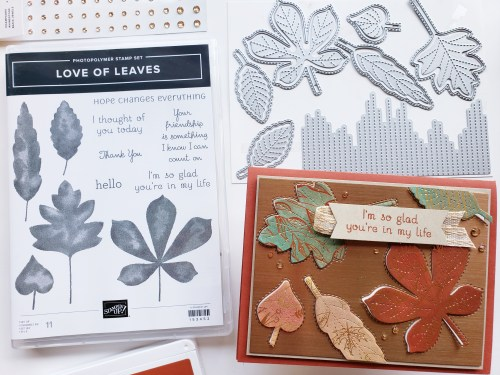 Today I'm sharing an absolutely beautiful fall card idea using the Stampin Up Love of Leaves stamp set and Stitched Leaves dies, a gorgeous card design using foils and specialty papers.