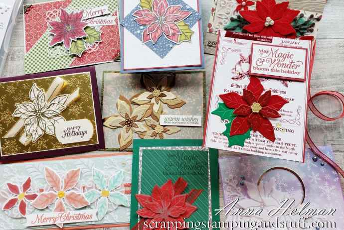 Take a look at the Stampin Up Poinsettia Place product suite along with nine beautiful Poinsettia Petals card ideas!
