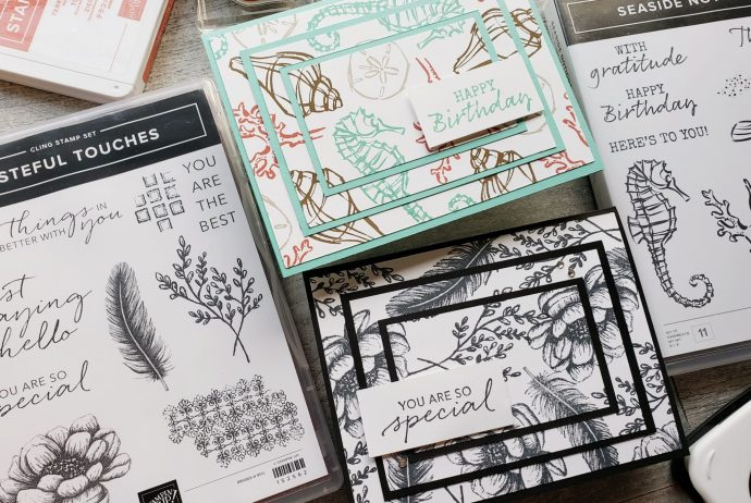 The triple stamping technique is perfect for making beautiful cards with any stamp set! These feature the Stampin Up Tasteful Touches and Seaside Notions stamp sets.